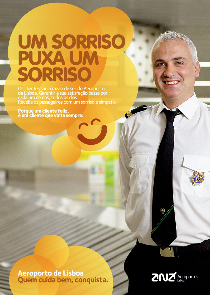 "Internal Campaign: ""A smile pulls a smile"" for Lisbon International Airport."